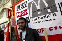 Right to Work protest against Workfare, the new unemployment scheme, McDonald's restaurant. Oxford Street, London - Jess Hurd - 25-02-2012