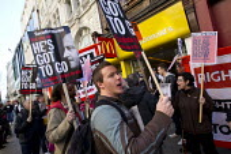 Right to Work protest against Workfare, the new unemployment scheme, McDonald's restaurant. Oxford Street, London. - Jess Hurd - 25-02-2012