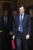 The Chancellor, George Osborne leaves 11 Downing Street to deliver his Budget to Parliament. Westminster, London. - Jess Hurd - 21-03-2012