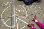 Peace of cake, Community not monarchy chalk drawn graphic on the pavement. UK Uncut anti austerity, anti monarchy street party, Diamond Jubilee weekend, Brighton. - Jess Hurd - 02-06-2012