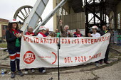 John Cunningham ex Yorkshire NUM miner speaking at a rally at Pozo Candin where miners have been occupying the pit. The miners have been on strike since the government announced cuts to mining subsidi... - Jess Hurd - 16-06-2012