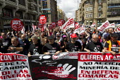 Miners march in Leon during the General Strike. The miners have been on strike since the government announced cuts to mining subsidies due to austerity cuts which will mean an end to mining. Asturias.... - Jess Hurd - 19-06-2012
