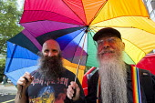 Beards, World Pride 2012, London. - Jess Hurd - 2010s,2012,activist,activists,adult,adults,age,ageing population,CAMPAIGN,campaigner,campaigners,CAMPAIGNING,CAMPAIGNS,couple,COUPLES,DEMONSTRATING,demonstration,DEMONSTRATIONS,elderly,equal,gay,gays,
