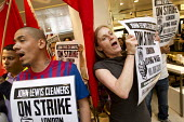 John Lewis contract cleaners occupy their flagship store for a London living wage, against job cuts and poor conditions. The Industrial Workers of the World union members, contracted by ICM part of th... - Jess Hurd - 13-07-2012