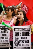John Lewis contract cleaners on strike outside their flagship store for a London living wage, against job cuts and poor conditions. The Industrial Workers of the World union members, contracted by ICM... - Jess Hurd - 13-07-2012