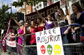 Free Pussy Riot demonstration in support of the Russian feminist punk-rock collective who have been found guilty of hooliganism, following a brief masked guerrilla performance of an allegedly blasphem... - Jess Hurd - 2010s,2012,activist,activists,altar,armed,CAMPAIGN,campaigner,campaigners,CAMPAIGNING,CAMPAIGNS,DEMONSTRATING,Demonstration,DEMONSTRATIONS,equal rights,equality,FEMALE,feminism,feminist,feminists,guer