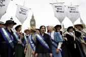 Suffragette actresses and actors at a UK Feminista rally and lobby of Parliament, campaigning for gender equality. London. - Jess Hurd - 24-10-2012