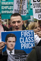 Rude George Osborne MP placard. National Student Demonstration - Educate, Employ, Empower. London. - Jess Hurd - 21-11-2012