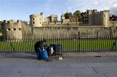 Mitie contract cleaner emptying rubbish bins, Tower of London, Historic London Palaces. - Jess Hurd - 03-11-2012