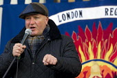 Bob Crow RMT Gen Sec. Mass lobby of the London Fire and Emergency Planning Authority (LFEPA) meeting to protest at plans to close 12 fire stations and axe 520 firefighter jobs. Called by the London re... - Jess Hurd - 21-01-2013