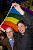 Gay rights campaigners wait for Parliament to vote on same-sex marriage legislation. Westminster, London. - Jess Hurd - 15-02-2013