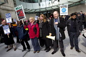 Michelle Stanistreet NUJ Gen Sec and Gerry Morrisey BECTU Gen Sec join the picket lines. NUJ and BECTU BBC strike against bullying and redundancies. New Broadcasting House, London. - Jess Hurd - 2010s,2013,against,at,BBC,BECTU,BROADCAST,Broadcasting,DISPUTE,DISPUTES,House,houses,INDUSTRIAL DISPUTE,industrial relations,job cuts,job loss,jobs,losses,member,member members,members,Michelle Stanis