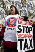 Cameron t-shirt. Protest against the Bedroom Tax and welfare cuts to social housing and benefits. March to Downing Street. London. - Jess Hurd - 30-03-2013