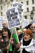 Protest against the Bedroom Tax, government welfare cuts to social housing and benefits which campaigners argue are disproportionately affecting the poor and disabled. March from Trafalgar Square to D... - Jess Hurd - 30-03-2013