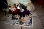 Dogs keep warm on a copy of the Evening Standard newspaper with a Thatcher Dies tribute front cover as hundreds gather in Brixton for a street party to celebrate the death of former British Prime Mini... - Jess Hurd - 08-04-2013