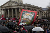 NUM banner. Party in Trafalgar Square to celebrate the death of former British Prime Minister Margaret Thatcher. London. - Jess Hurd - 13-04-2013