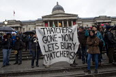 Party in Trafalgar Square to celebrate the death of former British Prime Minister Margaret Thatcher. London. - Jess Hurd - 13-04-2013
