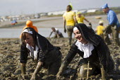 Nuns crawling through the mud. Maldon Mud Race, Essex. Competitors compete to be the first to complete a 400 metre dash over the bed of the River Blackwater. The race is organised by the Lions & Rotar... - Jess Hurd - 2010s,2013,ACE,ACE Arts Culture & Entertainment,activities,charitable,charity,club,clubs,COAST,coastal,coasts,costume,costumes,country,countryside,crawl,crawling,culture,dressed up,dressing up,EMOTION