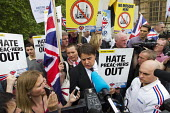 Hate Preachers Out. BNP leader Nick Griffin holds a rally as anti fascists block the road outside Parliament to prevent the British National Party from marching to the Cenataph after they were banned... - Jess Hurd - 01-06-2013