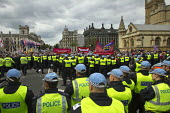 Anti fascists block the road outside Parliament to prevent the British National Party from marching to the Cenataph after they were banned from marching in Woolwich, where soldier Lee Rigby was murder... - Jess Hurd - 01-06-2013