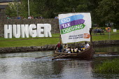 IF Enough food for everyone G8 Heads of leaders longship, End tax dodging flotilla. Oxfam. Protest against the G8 Summit, Fermanagh. Northern Ireland. - Jess Hurd - 17-06-2013
