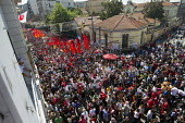 People rally in Taksim Square. Protests began when police attacked a camp occupation against the redevelopment of Taksim Park but protests have escalated across the country against Prime Minister Tayy... - Jess Hurd - Protest,Demonstration,Turkey,Turkish,Europe,Asia,asian,asians,2013,2010s