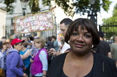 Diane Abbott MP. Hands of Syria - Stop the War protest outside Downing Street. Westminster, London. - Jess Hurd - 28-08-2013