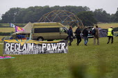 Media are escorted during controlled Media Hours, a restriction on news reporting by the protestors around the Reclaim The Power camp. Balcombe is the site of an on-going protest against energy compan... - Jess Hurd - 16-08-2013