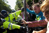 Bicycle blocade. Anti Fracking campaigners join a civil disobedience day in Balcombe in a protest against energy company Cuadrilla Resources who are drilling in Balcombe, West Sussex. - Jess Hurd - 19-08-2013