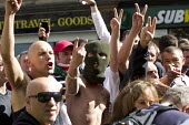 Protest confronts the English Defence League as they rally at Aldgate. East London. - Jess Hurd - 07-09-2013