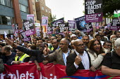 Lutfur Rahman, Mayor of Tower Hamlets joins a mass demonstration in Tower Hamlets against the English Defence League. East London. - Jess Hurd - 2010s,2013,activist,activists,against,anti,anti racist,asian,asians,BAME,BAMEs,bigotry,Black,BME,bmes,CAMPAIGN,campaigner,campaigners,CAMPAIGNING,CAMPAIGNS,Defence,DEFENSE,DEMONSTRATING,demonstration,