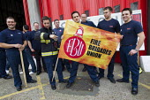 FBU 4 hour strike over firefighters pensions and retirement age. Poplar Fire Station, Tower Hamlets, East London. - Jess Hurd - 25-09-2013