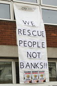 We rescue people not banks!! FBU 4 hour strike over firefighters pensions and retirement age. Poplar Fire Station, Tower Hamlets, East London - Jess Hurd - , Trade Union,2010s,2013,adult,adults,anti capitalist anti capitalism,austerity cuts,bailout,bank,banking,banks,banner banners,cuts,dispute,DISPUTES,fair pensions,FBU,finance,FINANCIAL,Fire,fire briga