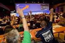 RMT delegates voting on a bullying motion. TUC, Bournemouth. - Jess Hurd - 2010s,2013,anti social behavior,anti social behaviour,anti socialanti social behavior,antisocial,antisocial behaviour,bully,bullying,conference,conferences,DELEGATE,delegates,democracy,Hands up,member