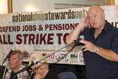 Bob Crow RMT Gen Sec at a National Shop Stewards Network meeting, calling for a one day general strike. TUC, Bournemouth. - Jess Hurd - 08-09-2013