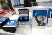 Not for turning cufflinks, Margaret Thatcher memorabilia merchandise The Maggie Collection at The Conservative Party shop. Conservative Party Conference 2013. Manchester. - Jess Hurd - 2010s,2013,brand,branding,Collection,Conference,conferences,CONSERVATIVE,Conservative Party,conservatives,cufflinks,FEMALE,Margaret Thatcher,memorabilia,merchandise,outlet,outlets,pair of cufflinks,Pa