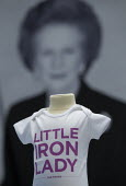 Little Iron Lady children's t shirt. Margaret Thatcher memorabilia merchandise The Maggie Collection at The Conservative Party shop. Conservative Party Conference 2013. Manchester. - Jess Hurd - ,2010s,2013,apparel,brand,branding,child,CHILDHOOD,children,clothes,clothing,Collection,Conference,conferences,CONSERVATIVE,Conservative Party,conservatives,female,females,girl,girls,Iron,juvenile,juv