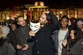 Comedian Russell Brand joins the Million Mask March, Operation Vendetta march on Parliament to mark November 5th, Westminster, London. - Jess Hurd - 05-11-2013