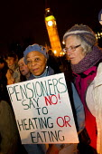 Pensioners say no to heating or eating. The Peoples' Assembly, Bonfire of Austerity burn fuel bills of Westminster Bridge outside Parliament to mark November 5th. London. - Jess Hurd - 05-11-2013