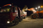 Trucks collecting sand from the beach for sandbags ahead of storm surge Xavier hitting Great Yarmouth, East Anglia. - Jess Hurd - 05-12-2013