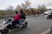 Young men illegally horse racing in Mount Etna National Park, Sicily, Italy. - Jess Hurd - 13-01-2014