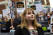 Michelle Stanistreet. NUJ protest at the Egyptian Embassy calling for the release of all detained journalists in Egypt and an end to the crack-down on media workers. Many have been killed, others, inc... - Jess Hurd - 19-02-2014