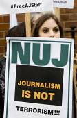 NUJ protest at the Egyptian Embassy calling for the release of all detained journalists in Egypt and an end to the crack-down on media workers. Many have been killed, others, including Peter Greste, M... - Jess Hurd - 2010s,2014,activist,activists,CAMPAIGN,campaigner,campaigners,CAMPAIGNING,CAMPAIGNS,DEMONSTRATING,Demonstration,DEMONSTRATIONS,Egyptian,free,freedom,journalism,journalist,journalists,media,member,memb