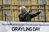Paddy Hill, Birmingham Six. Save Legal Aid protest marches from Parliament to the Ministry of Justice. Grayling Day. Westminster, London. - Jess Hurd - 07-03-2014