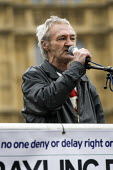 Paddy Hill, Birmingham Six speaking. Save Legal Aid protest marches from Parliament to the Ministry of Justice. Grayling Day. Westminster, London. - Jess Hurd - 07-03-2014