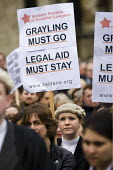 Save Legal Aid protest marches from Parliament to the Ministry of Justice. Grayling Day. Westminster, London. - Jess Hurd - 07-03-2014