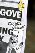 Graffitied anti Michael Gove placard. NUT strike and march about pay, pensions and conditions. Central London. - Jess Hurd - 26-03-2014