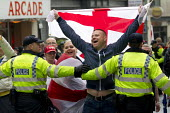 March for England protesters celebrate St George's Day, with a large policing operation and local opposition. Brighton. - Jess Hurd - 27-04-2014