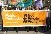 Ian Lawrence NAPO Gen Sec and Paul Nowak TUC lead a protest against the privatisation of probation services on Chris Graylings birthday, April Fools Day. Westminster. London. - Jess Hurd - 01-04-2014