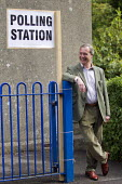 Nigel Farage, UKIP leader casts his European Election vote at his local Polling Station, Surrey. - Jess Hurd - ,2010s,2014,campaign,campaigning,CAMPAIGNS,candidate,candidates,DEMOCRACY,election,elections,EU,European Union,eurosceptic,Euroscepticism,eurosceptics,Husting,hustings,leader,local,people,POL,politica